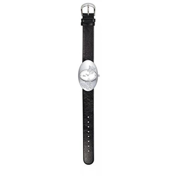 腕時計 Moogパリ  レディースウオッチムーグ パリ - ホワイト ダイヤル、黒の革ストラップ ・ スワロフ スキー エレメントを持つ蝶女性の腕時計 並行輸入品