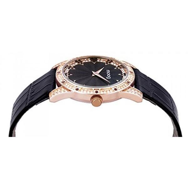 腕時計 Moogパリ  レディースウオッチムーグ パリ - シックなレディース腕時計ブラック ダイアル、黒の革ストラップ ・ スワロフ スキー エレメント -