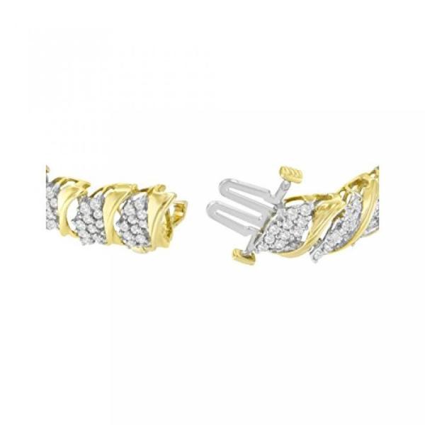 ファッション ブレスレット10KT 黄色ゴールド ラウンド カット ダイヤモンド S 曲線のブレスレット (4.00 cttw、J K 色 I2 I3 明快さ) 並行輸入品