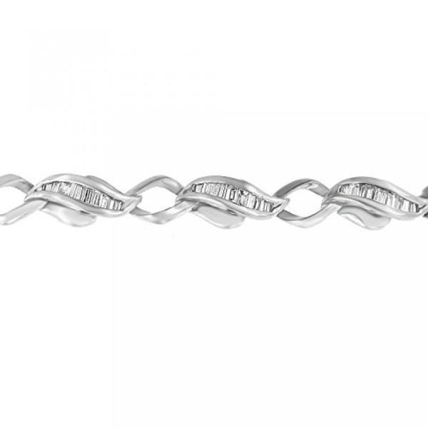 ファッション ブレスレットホワイト プラチナ バゲット カット ダイヤモンド愛リンク ブレスレット (2.18 cttw、H-私は色、クラリティ SI1 ・ SI2) 並行輸入品