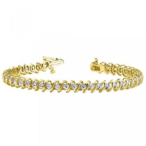 ファッション ブレスレット7 カラット S リンク ダイヤモンド テニス ブレスレット 14 K イエロー ゴールド値コレクション 並行輸入品|timoak