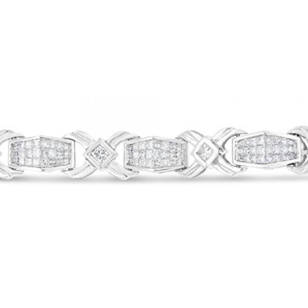 ファッション ブレスレット14 kt ゴールド プリンセス カット ダイヤモンド ブレスレット (8.00 cttw、H-私は色、クラリティ SI1 ・ SI2) 並行輸入品