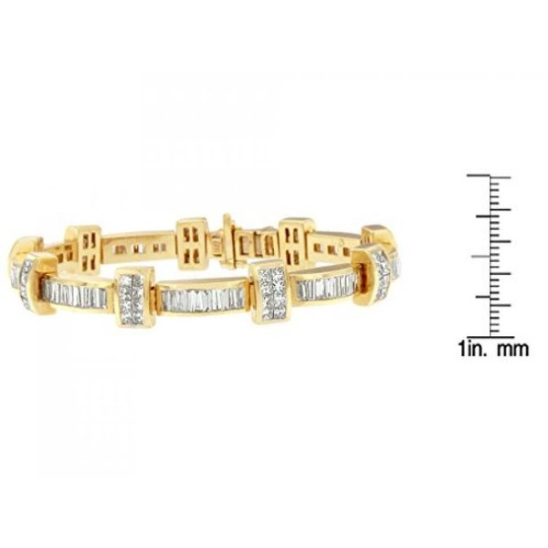 ファッション ブレスレット14 kt 黄色ゴールド プリンセスとバゲット カット ダイヤモンド バー リンク ブレスレット (7 3/8 cttw、H-私は色、クラリティ SI1