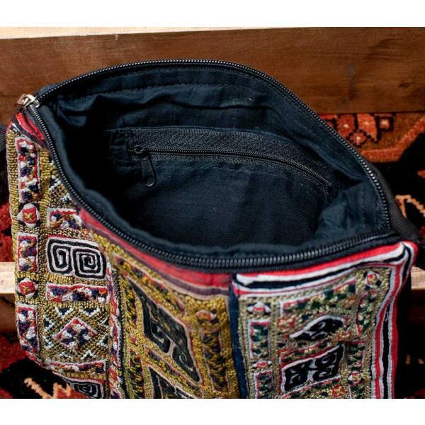 ショルダーバッグ モン族 バック 刺繍 (一点物)モン族刺繍のスクエアショルダーバッグ インド かばん ポーチ エスニック アジア tirakita-shop 11