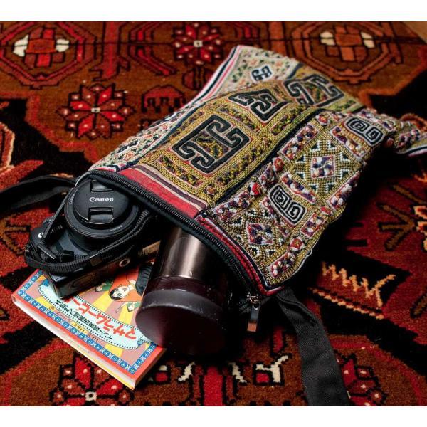 ショルダーバッグ モン族 バック 刺繍 (一点物)モン族刺繍のスクエアショルダーバッグ インド かばん ポーチ エスニック アジア tirakita-shop 14