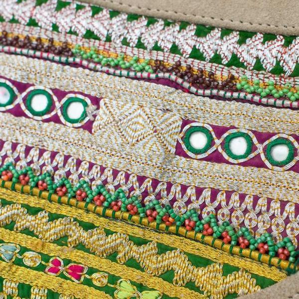 送料無料 アフガニバッグ ショルダーバッグ 古布 パッチワーク レザー スウェード (一点物)アフガニショルダーバッグ Lサイズ インド かばん ポーチ tirakita-shop 06