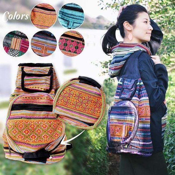 モン族刺繍 まんまる折りたたみ式2Wayトラベルバッグ / ショルダーバッグ レビューでタイカレープレゼント|tirakita-shop
