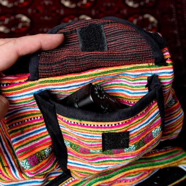 モン族刺繍 まんまる折りたたみ式2Wayトラベルバッグ / ショルダーバッグ レビューでタイカレープレゼント|tirakita-shop|12