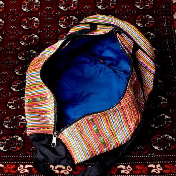 モン族刺繍 まんまる折りたたみ式2Wayトラベルバッグ / ショルダーバッグ レビューでタイカレープレゼント|tirakita-shop|14