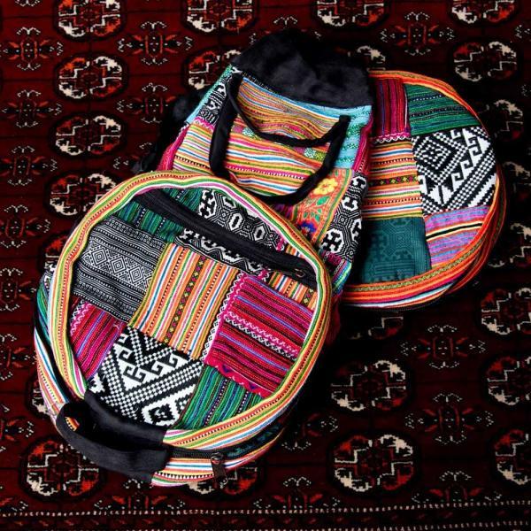 モン族刺繍 まんまる折りたたみ式2Wayトラベルバッグ / ショルダーバッグ レビューでタイカレープレゼント|tirakita-shop|18