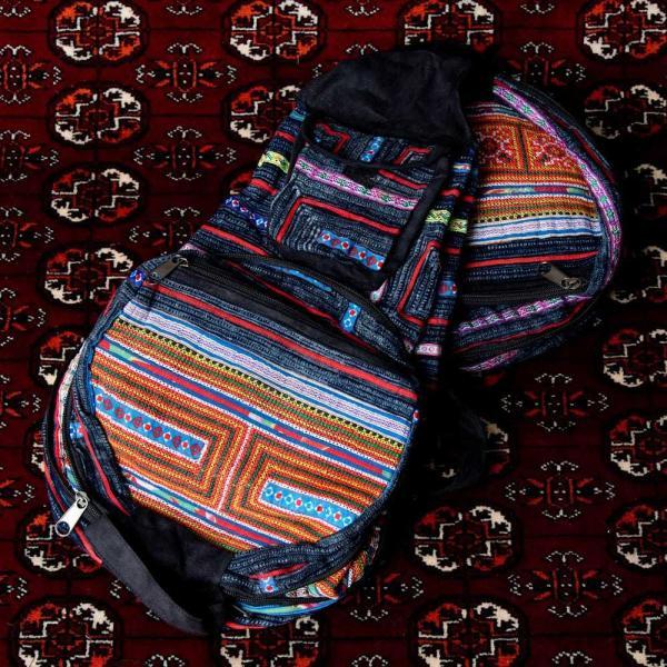 モン族刺繍 まんまる折りたたみ式2Wayトラベルバッグ / ショルダーバッグ レビューでタイカレープレゼント|tirakita-shop|19