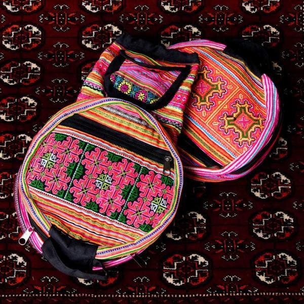 モン族刺繍 まんまる折りたたみ式2Wayトラベルバッグ / ショルダーバッグ レビューでタイカレープレゼント|tirakita-shop|20