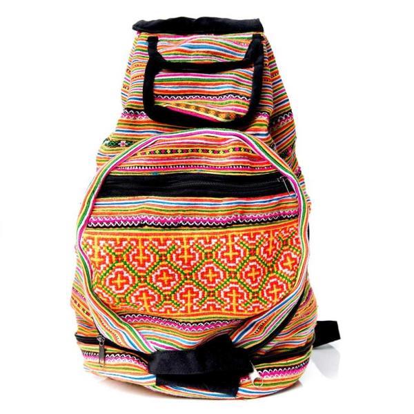 モン族刺繍 まんまる折りたたみ式2Wayトラベルバッグ / ショルダーバッグ レビューでタイカレープレゼント|tirakita-shop|03