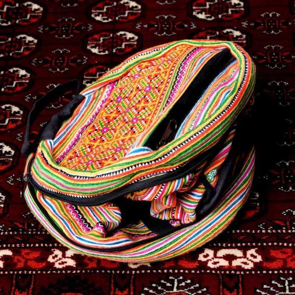 モン族刺繍 まんまる折りたたみ式2Wayトラベルバッグ / ショルダーバッグ レビューでタイカレープレゼント|tirakita-shop|06