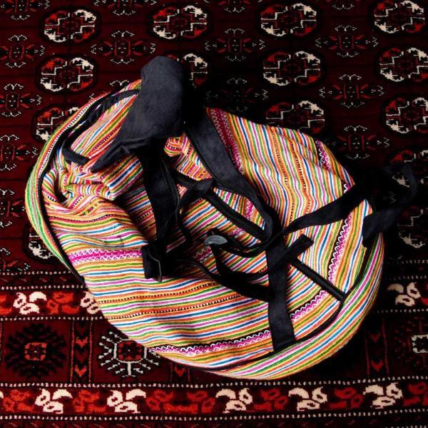 モン族刺繍 まんまる折りたたみ式2Wayトラベルバッグ / ショルダーバッグ レビューでタイカレープレゼント|tirakita-shop|07