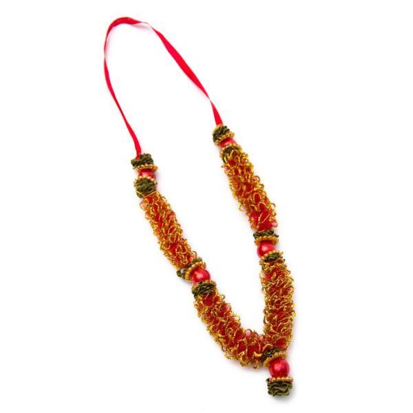 造花 デコレーション インドの造花 赤×ゴールド バラタナティヤム アクセサリ サリー エスニック衣料 アジアンファッション エスニックファッション|tirakita-shop