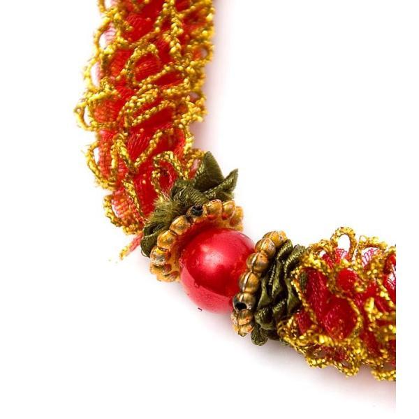 造花 デコレーション インドの造花 赤×ゴールド バラタナティヤム アクセサリ サリー エスニック衣料 アジアンファッション エスニックファッション|tirakita-shop|02