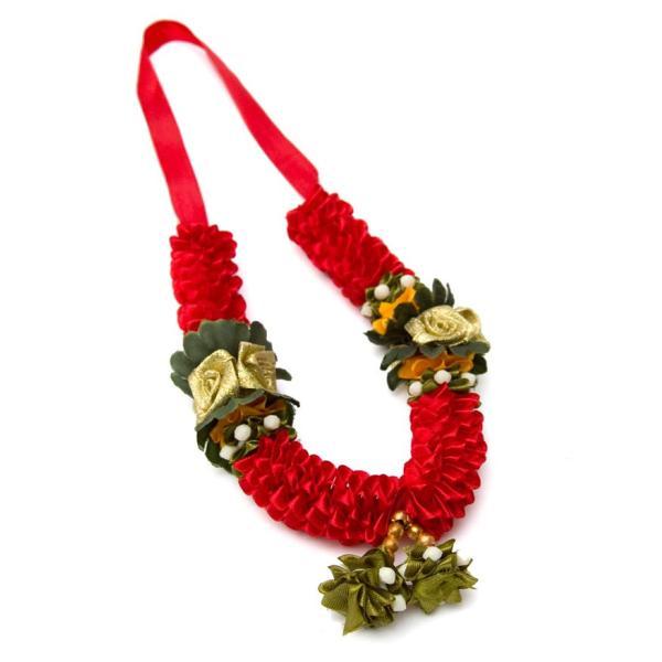 造花 デコレーション インドの造花 赤花×緑 バラタナティヤム アクセサリ サリー エスニック衣料 アジアンファッション エスニックファッション|tirakita-shop