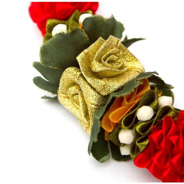 造花 デコレーション インドの造花 赤花×緑 バラタナティヤム アクセサリ サリー エスニック衣料 アジアンファッション エスニックファッション|tirakita-shop|02