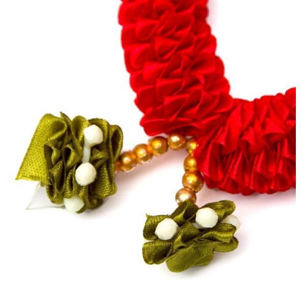 造花 デコレーション インドの造花 赤花×緑 バラタナティヤム アクセサリ サリー エスニック衣料 アジアンファッション エスニックファッション|tirakita-shop|03
