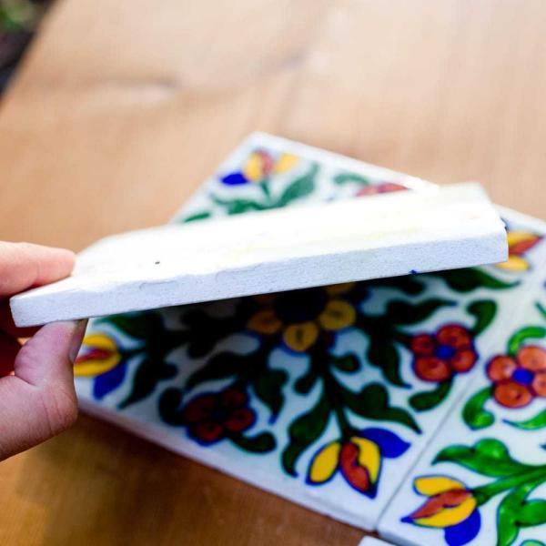 タイル 陶器 青陶器 ジャイプル 〔15cm×15cm〕ブルーポッタリー ジャイプール陶器の正方形デコレーションタイル ガーデニング カウンター|tirakita-shop|04