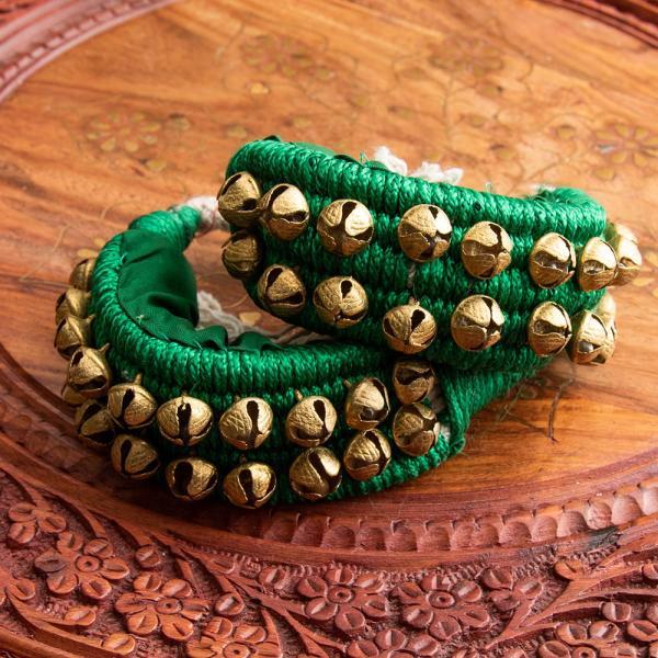 ベル グングルベルト インド 打楽器 パッド付きグングル 2列 民族楽器 銅鑼 ドラ インド楽器 エスニック楽器 ヒーリング楽器 tirakita-shop