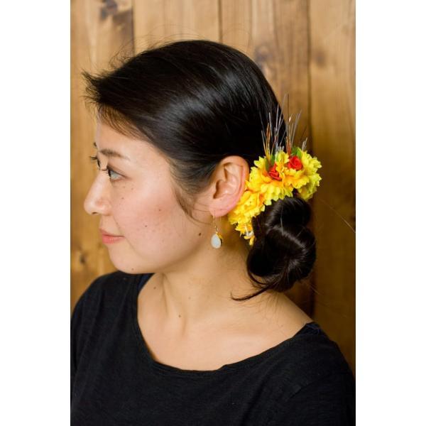 南インドの髪飾り オレンジイエローの花 / ジャスミン エスニック アジア アクセサリー