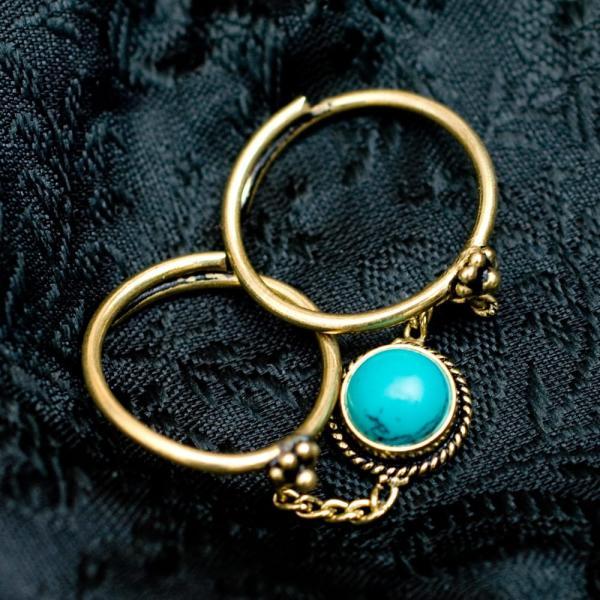 天然石 リング 指輪 アクセサリー (安心のフリーサイズ)チャーム付きゴールド2連リング 金色 インド 神様