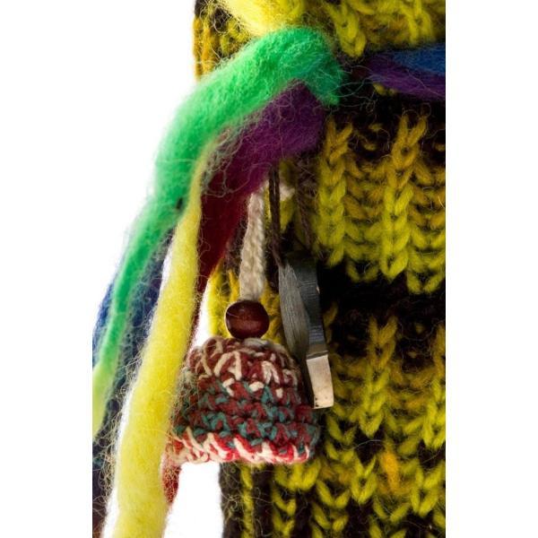 ネパールのニット・ブーツ (黄緑×黒・斑) / ルームシューズ 靴 エスニック 衣料 服 ファッショ