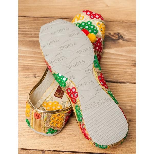 ゴージャス刺繍のマハラニフラットシューズ / パンプス 靴 ペッタ レビューでタイカレープレゼント