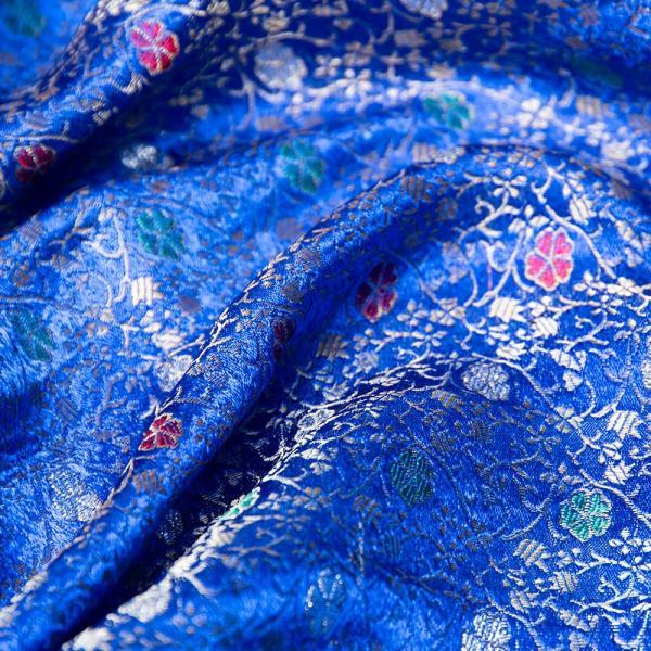 切り売り 計り売り布 生地 〔1m切り売り〕インドの伝統模様布 スパークリングオーシャン〔幅約117cm〕 アジア布 手芸 アジアン ファブリック テーブルクロス|tirakita-shop