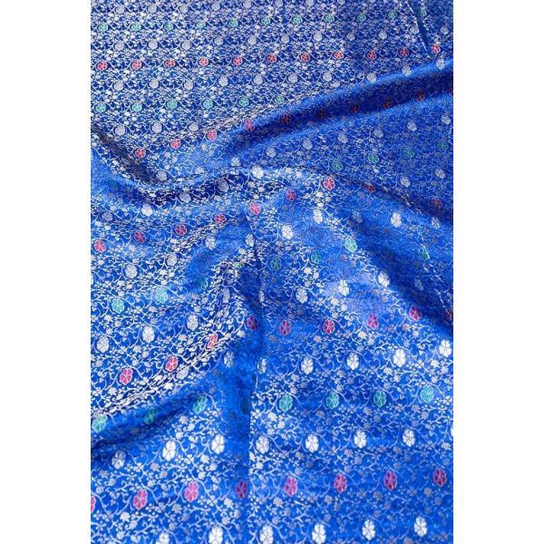 切り売り 計り売り布 生地 〔1m切り売り〕インドの伝統模様布 スパークリングオーシャン〔幅約117cm〕 アジア布 手芸 アジアン ファブリック テーブルクロス|tirakita-shop|02