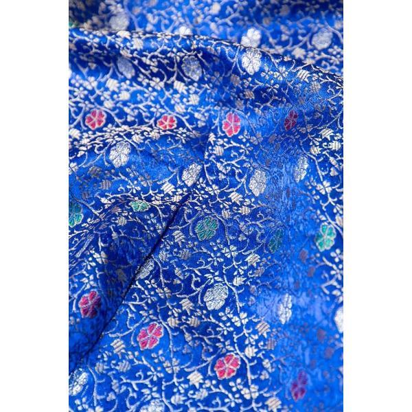 切り売り 計り売り布 生地 〔1m切り売り〕インドの伝統模様布 スパークリングオーシャン〔幅約117cm〕 アジア布 手芸 アジアン ファブリック テーブルクロス|tirakita-shop|03
