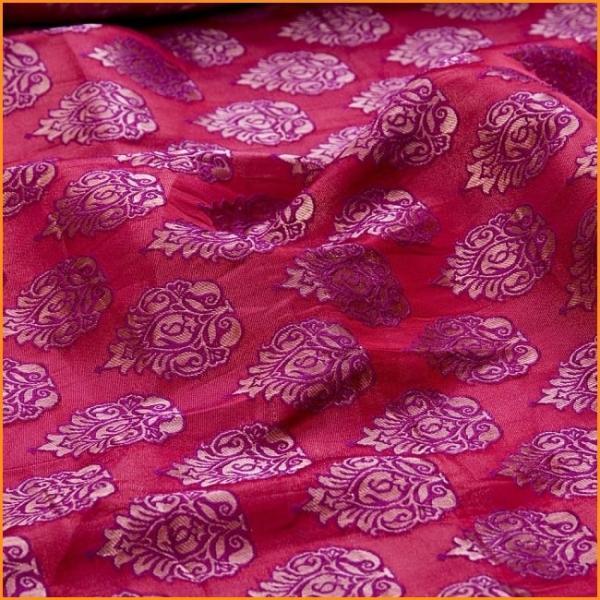 切り売り 計り売り布 生地 〔1m切り売り〕インドの伝統模様布〔幅約117cm〕 レッド×パープル アジア布 手芸 アジアン ファブリック tirakita-shop