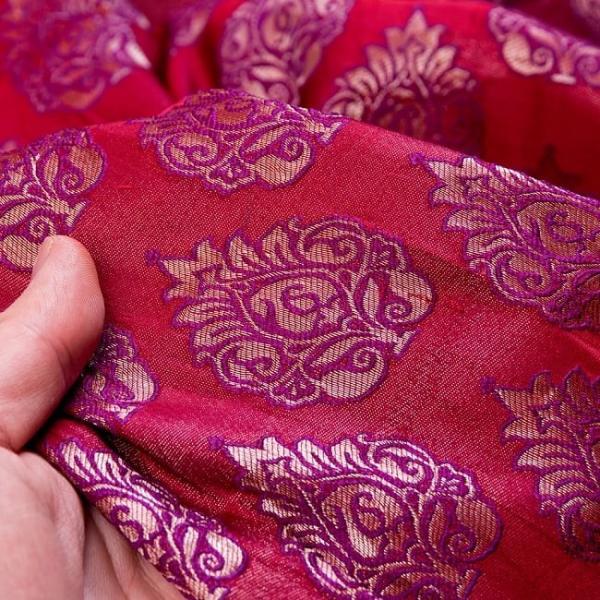 切り売り 計り売り布 生地 〔1m切り売り〕インドの伝統模様布〔幅約117cm〕 レッド×パープル アジア布 手芸 アジアン ファブリック tirakita-shop 06