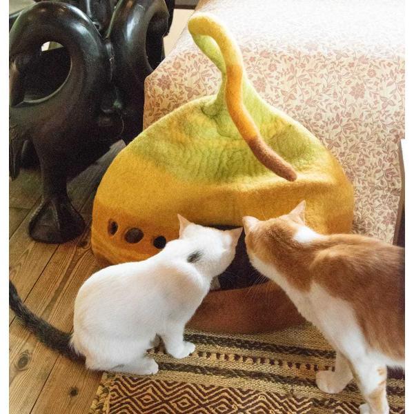 ネパールフェルトのしっぽ付きキャットハウス / ペット用品 猫ハウス レビューでタイカレープレゼント tirakita-shop 02