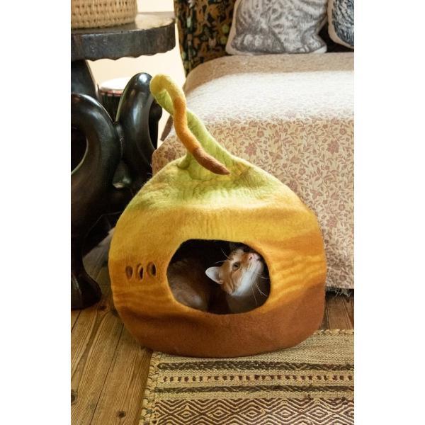 ネパールフェルトのしっぽ付きキャットハウス / ペット用品 猫ハウス レビューでタイカレープレゼント tirakita-shop 05