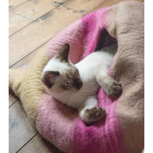 ネパールフェルトのしっぽ付きキャットハウス / ペット用品 猫ハウス レビューでタイカレープレゼント tirakita-shop 06