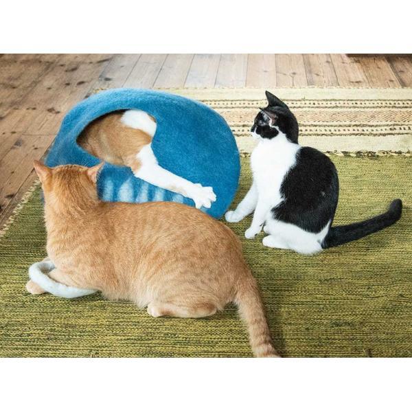 ネパールフェルトのしっぽ付きキャットハウス / ペット用品 猫ハウス レビューでタイカレープレゼント tirakita-shop 08