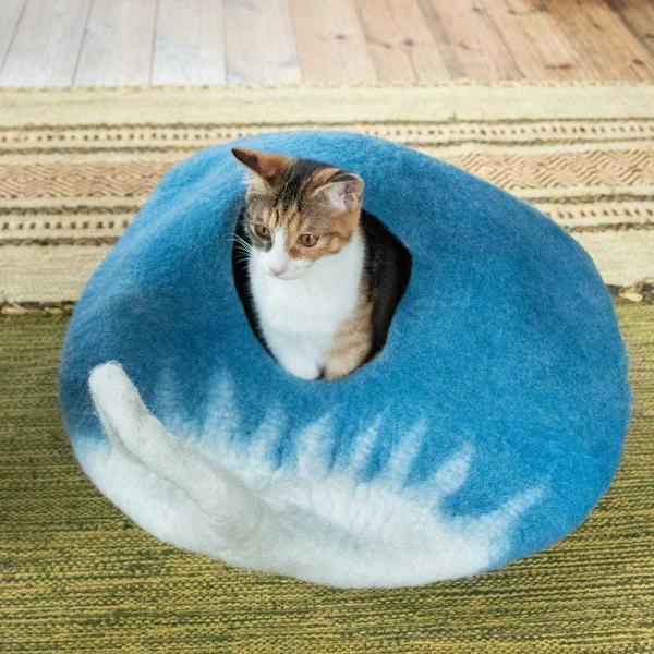 ネパールフェルトのしっぽ付きキャットハウス / ペット用品 猫ハウス レビューでタイカレープレゼント tirakita-shop 09