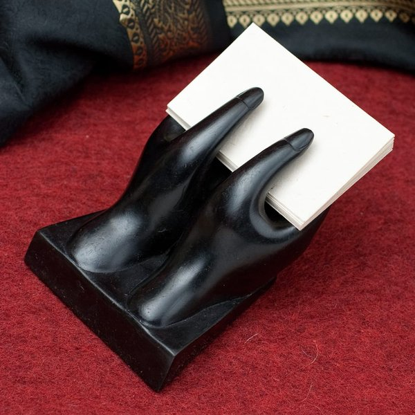 カードホルダー 名刺置き ショップカード ネパールの名刺置き 黒 インド アジア 雑貨 エスニック