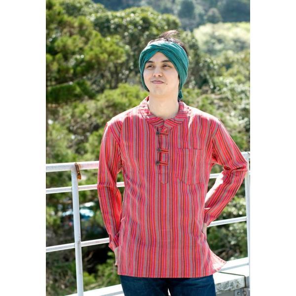長袖ストライプクルタ / 送料無料 男性用シャツ 長袖シャツ レビューでタイカレープレゼント|tirakita-shop