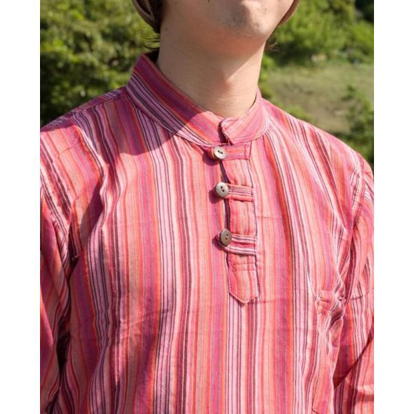 長袖ストライプクルタ / 送料無料 男性用シャツ 長袖シャツ レビューでタイカレープレゼント|tirakita-shop|06