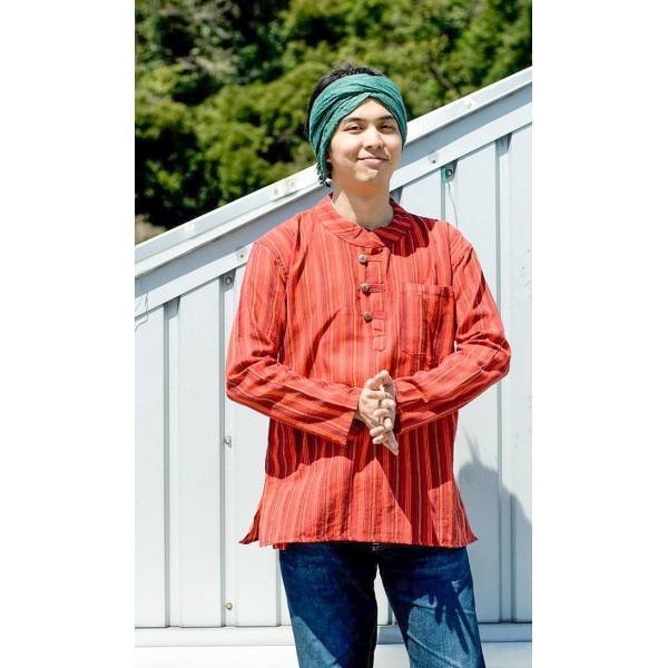 長袖ストライプクルタ / 送料無料 男性用シャツ 長袖シャツ レビューでタイカレープレゼント|tirakita-shop|07