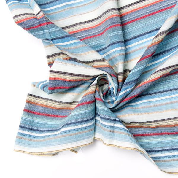 インド綿 切売り ルンギー マルチクロス インドの伝統布 ボーダー柄のルンギー用コットン布 〔幅110cm|tirakita-shop