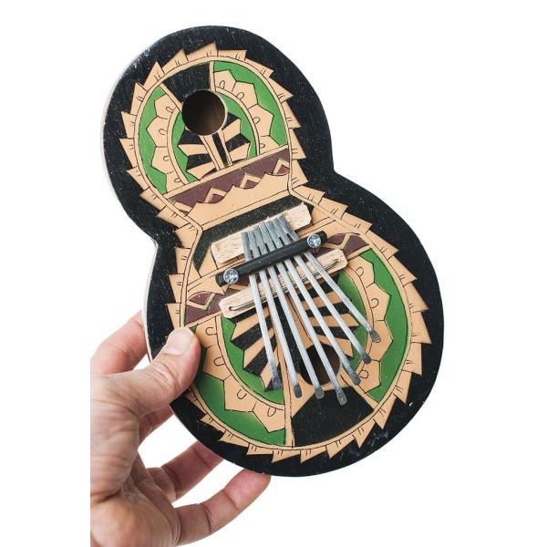 カリンバ 親指ピアノ サムピアノ 民族楽器 バリ ココナッツカリンバ ラメラフォーン 7弦ココナッツカリンバ (カラフル・ギター型) インド楽器 エスニック楽器|tirakita-shop|06