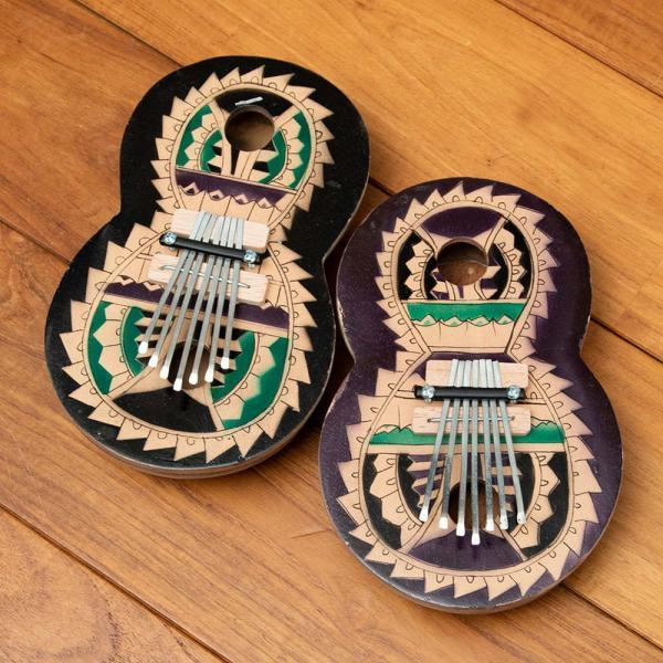 カリンバ 親指ピアノ サムピアノ 民族楽器 バリ ココナッツカリンバ ラメラフォーン 7弦ココナッツカリンバ (カラフル・ギター型) インド楽器 エスニック楽器|tirakita-shop|07