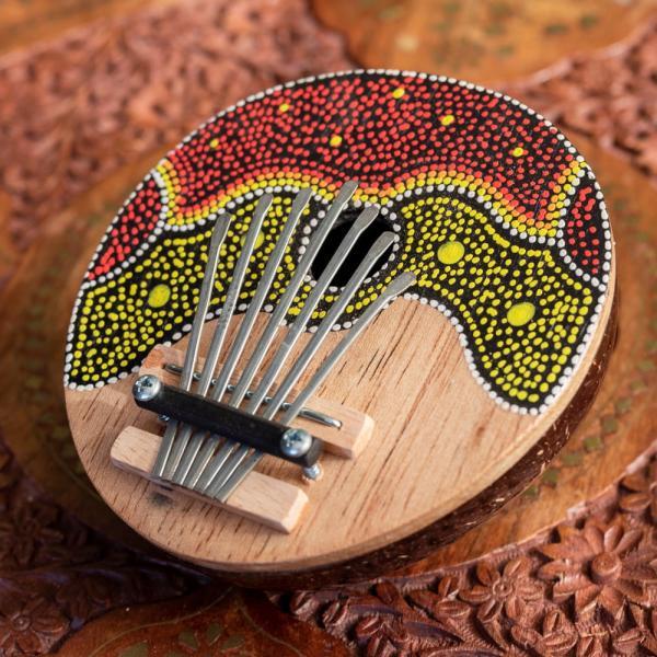 カリンバ 親指ピアノ サムピアノ 民族楽器 バリ ココナッツカリンバ ラメラフォーン 7弦ココナッツカリンバ (赤波柄) インド楽器 エスニック楽器|tirakita-shop