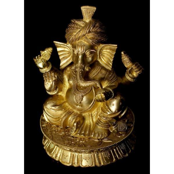 仏像 置物 ガネーシャ像 ブラス製 ヒンドゥー 神様像 座りガネーシャ像 19.8cm Ganesha インド エスニック アジア