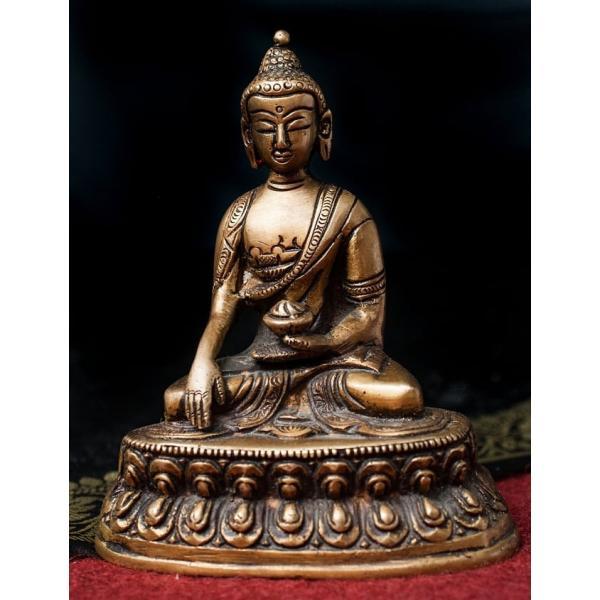 仏像 仏陀 神様像 ブラス アクショービャ 阿しゅく如来 13.5cm インド 置物 エスニック アジア 雑貨